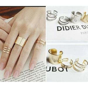 3 PIECE MIDI OR KNUCKLE RINGS- GOLD OR SILVER SETS